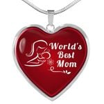 Message Gift For World's Best Mom Stainless Heart Pendant Necklace