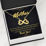 Thank You Gold Paisley Pattern Infinity Heart Necklace Gift For Mom