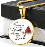 I Hold You In My Heart Cardinal Circle Pendant Necklace