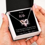 I Love You With Flowers Black Background Gift For Wife Interlocking Hearts Necklace