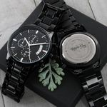 To Family You Are The World Gift For Father Engraved Customized Black Chronograph Watch