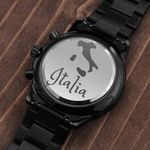 Gift For Man Italia Country And Map Gift Engraved Customized Black Chronograph Watch