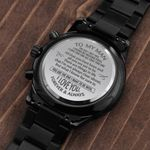 Anniversary Gift For My Man The Day I Met You I Found My Missing Peace Engraved Customized Black Chronograph Watch