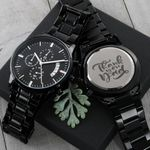 Meaningful Father's Day Gift For Dads Saying Thank You Dad Engraved Customized Black Chronograph Watch