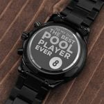 Gift For Dad The Best Pool Player Ever Number 8 Engraved Customized Black Chronograph Watch