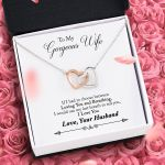 Husband Gift For Wife Loving You And Breathing Interlocking Hearts Necklace