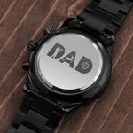 Dad Hunting Father's Day Gift For Dad Loves Hunting Engraved Customized Black Chronograph Watch
