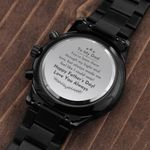 Happy Father's Day Love You Always Gift For Dad Engraved Customized Black Chronograph Watch