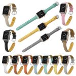 'T'-Shape 11 Colors Leather Strap For Apple Watch Series 1,2,3,4
