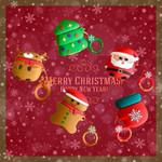 Christmas Santa & Gingerbread Man & Reindeer & Tree & Bag Airpods Case