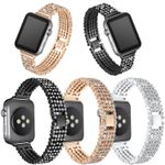 Round Glitter Rhinestone with Stainless Steel Strap For Apple Watch Series 1,2,3,4