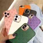 Simple Colorful LV Plain Leather iPhone Case