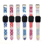 Luxury L Printed  Painted Lether Apple Watch Band