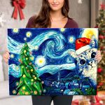 Starry Christmas Night with Cat - Canvas