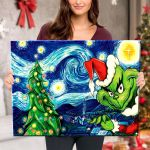 Starry Christmas Night with Grinch - Canvas