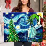 Starry Christmas Night with Grinch Hand - Canvas