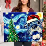Starry Christmas Night with Pitbull - Canvas