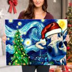 Starry Christmas Night with Cow - Canvas
