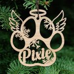 Dog Paw Memorial Wooden Ornament