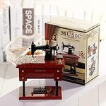 Wood Mini Sewing Machine Music Box_H