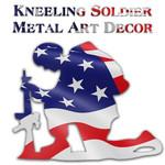 Kneeling Soldier Metal Flag Decoration