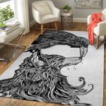 Viking Area Rug - Fenrir And Raven Line Art