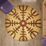 Viking Round Carpet - Vegvisir Symbol