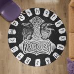 Viking Round Carpet - Hammer Raven And Rune