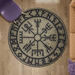 Viking Round Carpet - Vegvisir Rock Rune