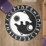 Viking Round Carpet - Yin Yang Wolf and Rune