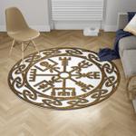 Viking Round Carpet - Vegvisir With Pattern