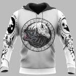 Viking Hoodie 3D - Viking Fenrir - Yin Yang Wolf