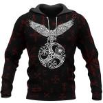 Viking Hoodie 3D - Raven With Vegvisir