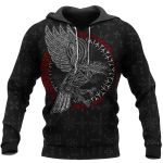 Viking Hoodie 3D - Raven - Hammer - Spear Odin