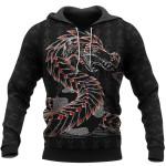 Viking Hoodie 3D - Odin And Jormungandr