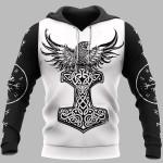 Viking Hoodie 3D - Raven Hammer - Yggdrasil - Tree Of Life