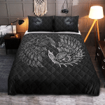 Viking Gear : Raven And Wolf Fenrir - Viking Quilt Bedding Set
