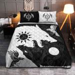 Viking Quilt Bedding Set - Yin Yang Wolf and Raven