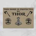 Viking Gear : This Home Is Protected By Thor - Viking Door Mat