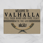 Viking Gear : Welcome To Valhalla Fill Your Horn And Come Feast With The Gods Skal - Viking Door Mat