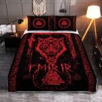 Fenrir Wolf - Valknut And Rune - Viking Quilt Bedding Set