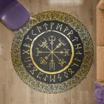 Vegvisir And Rune - Viking Round Carpet