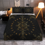 Viking Vegvisir And Rune - Viking Quilt Bedding Set