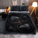 Raven And Runic Symbols - Viking Quilt Bedding Set