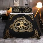Tree Yggdrasil And Vegvisir - Viking Quilt Bedding Set
