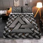 Silver Valknut symbol - Viking Quilt Bedding Set