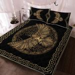 Odin's Celtic Raven on the background Yggdrasil tree - Viking Quilt Bedding Set