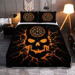 Viking Vegvisir Skull - Viking Quilt Bedding Set