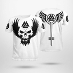 Black Skull With Wings - Viking T-Shirts All-Over-Print