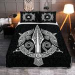 Raven And Spear Of Odin - Viking Quilt Bedding Set